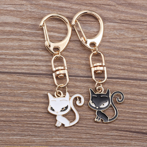 Cartoon Black White Cat KeyChain - KittyCatPurrfect