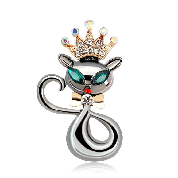 Metal Crown Cat Brooch - KittyCatPurrfect