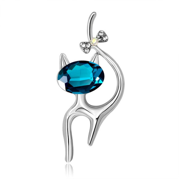 Blue Gem Sterling Silver Cat Brooch - KittyCatPurrfect