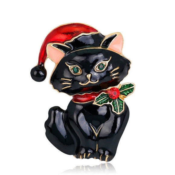 Christmas Cat Brooch - KittyCatPurrfect
