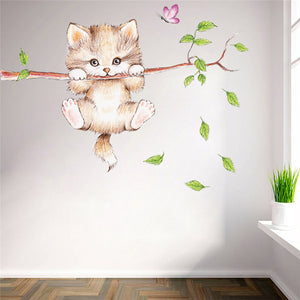 Cute Hanging Kitty Branch Sticker - KittyCatPurrfect