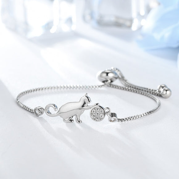 Adjustable Cat and Ball Bracelet - KittyCatPurrfect