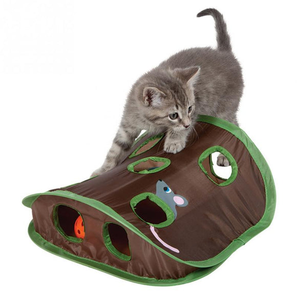 Mouse & Bell Ball Hunting Foldable Tent With 9 Holes Tunnel - KittyCatPurrfect