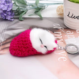 Cute Sleeping Cat Pompom Keychain - KittyCatPurrfect