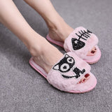 Warm Fluffy Rhinestone Slippers - KittyCatPurrfect