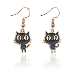 Anime Black Kitty Earrings - KittyCatPurrfect