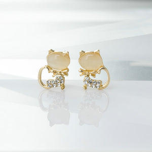Opal Kitty Bow Earring - KittyCatPurrfect