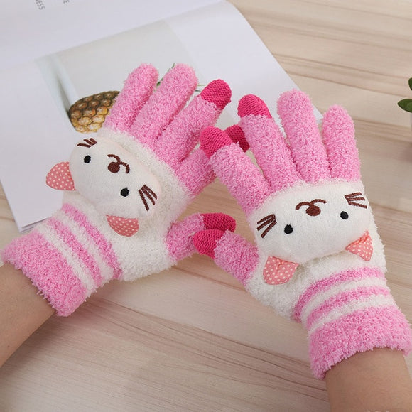 Warm Knitted 3D Kitty Mittens - KittyCatPurrfect