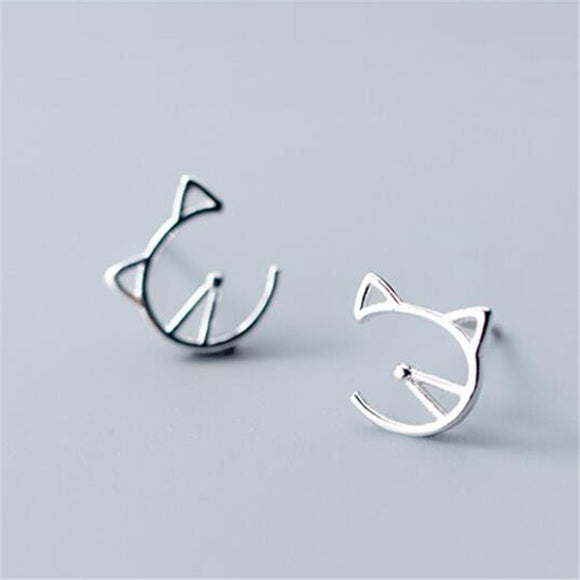 Sterling Silver Cute Stud Earrings - KittyCatPurrfect