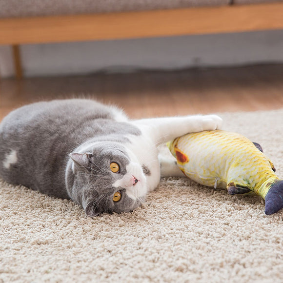 Soft Plush Creative 3D Fish Shape Cat Toy With Catnip - KittyCatPurrfect