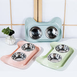 Durable Double Stainless Steel Non-spill & Non-skid Bowl - KittyCatPurrfect