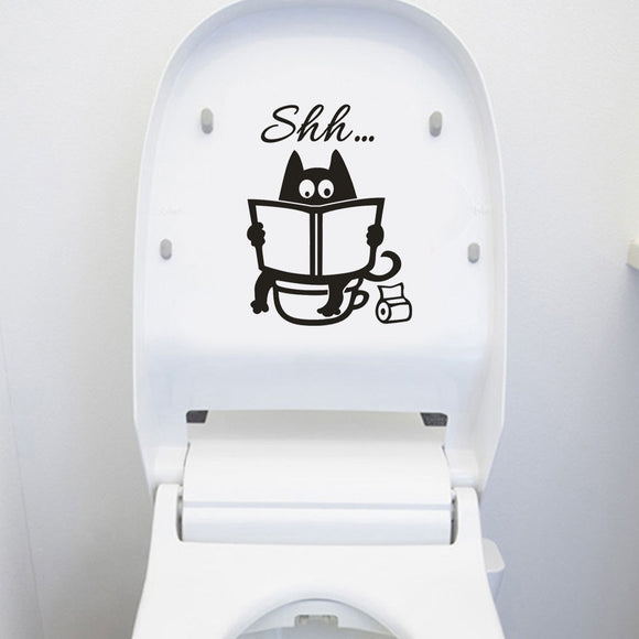 Cute Cartoon Cat Shh Toilet Sticker - KittyCatPurrfect