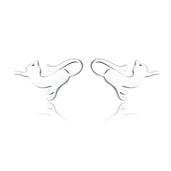 Sterling Silver Playful Kitty Stud Earring - KittyCatPurrfect