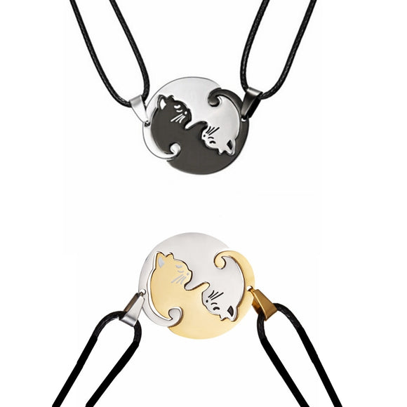 Couples Yin Yang Cat Necklaces - KittyCatPurrfect