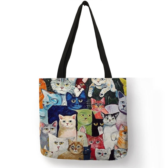 Multi Color Multi Kitty Linen Tote - KittyCatPurrfect