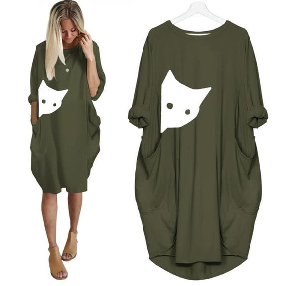 Pocket Long Shirt Dress - KittyCatPurrfect