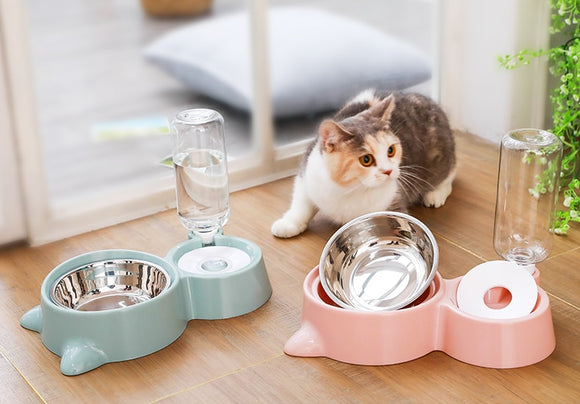 2 in 1 Metal Bowl and Water Dispenser - KittyCatPurrfect