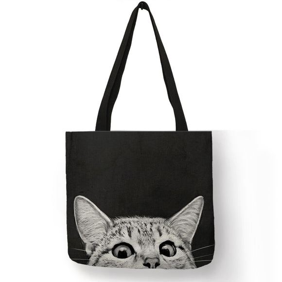 Fabric Cute Cat Print Tote Bag - KittyCatPurrfect