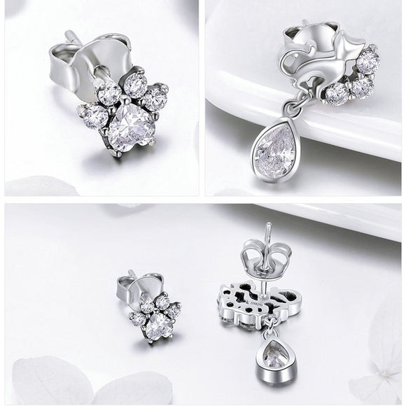 Dazzling Sterling Silver Kitty & Paw Earrings - KittyCatPurrfect