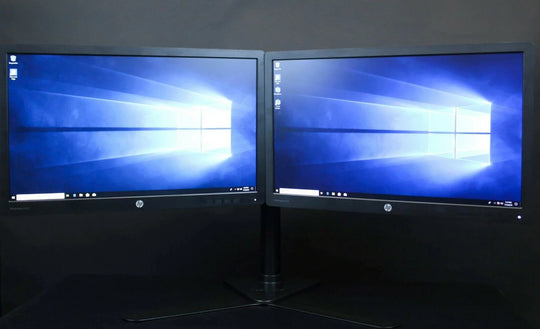 "Dual PC Monitors - x2 HP EliteDisplay E232 - 23"" LED HDMI VESA Adjustable Stand"