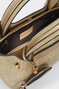 Textured Raffia Tote Bag With Removable Interior