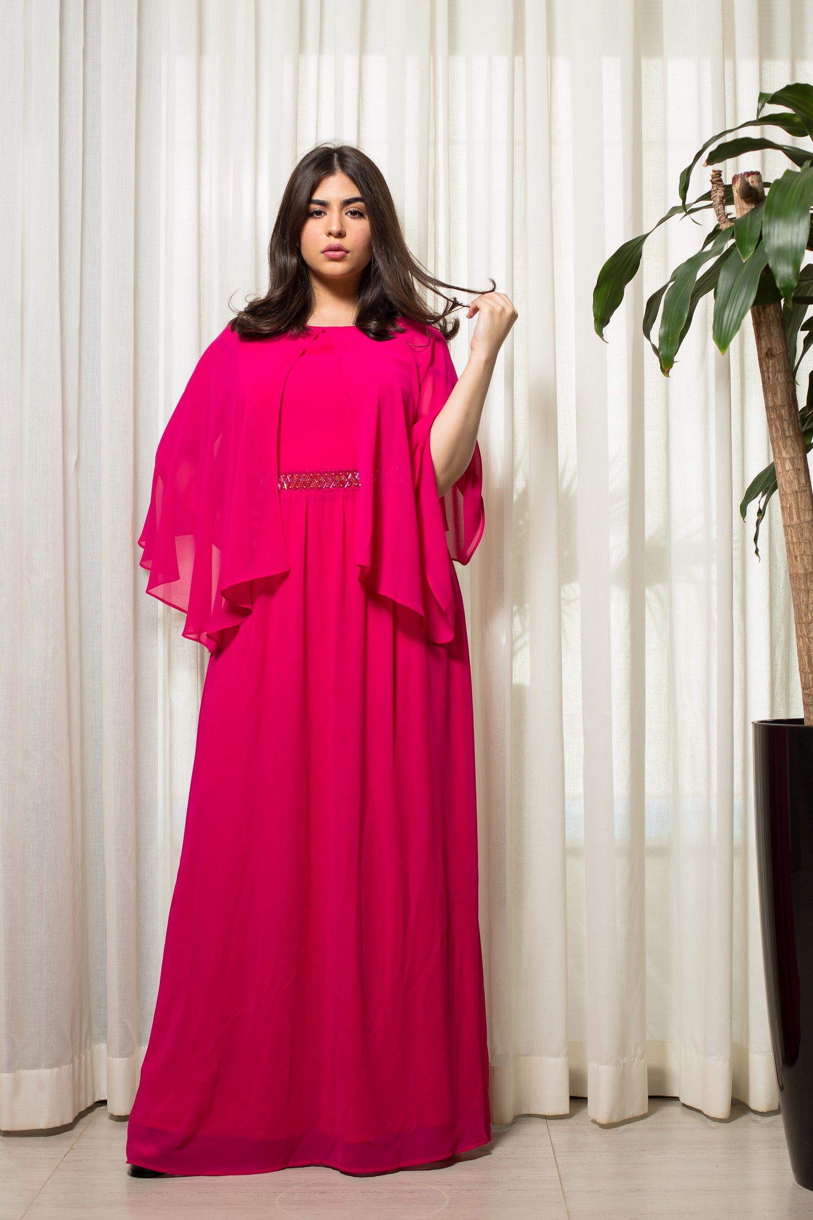 027446360423 Butterfly Sleeves Maxi Dress – Fashion.sa
