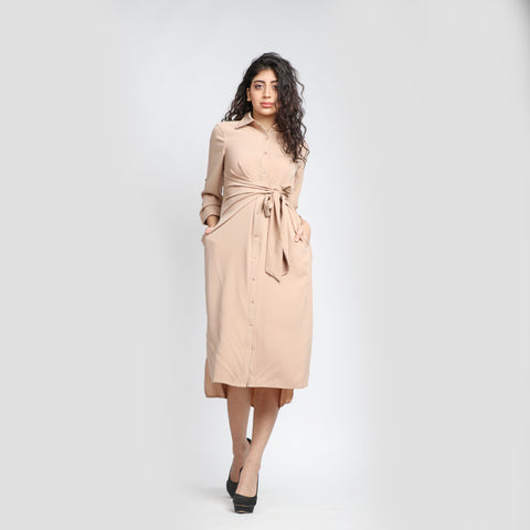 3/4 Sleeves Shirt Dress