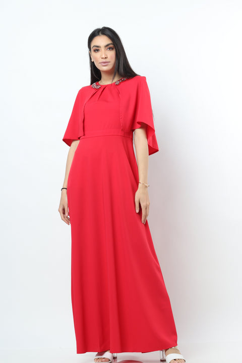 Butterfl Sleeves Maxi Dress