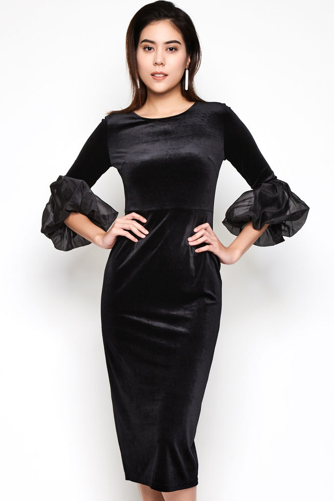 3/4 Sleeves Midi Dress