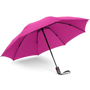 Shedrain reverse umbrella color hot pink partial closed