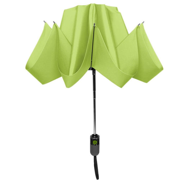 Shedrain reverse umbrella color sour apple partial closed