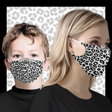woman and child wearing leopard pattern face masks