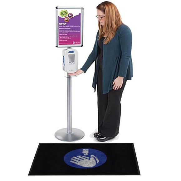 Hand Sanitizer Floor Mat under a hand sanitizer dispenser