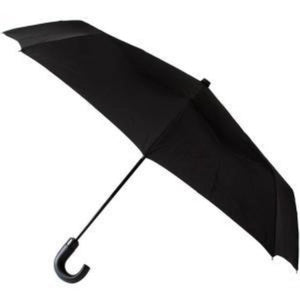 "Leighton - Kensington Black Handle 43"" Auto Open Close Travel Umbrella - Black"