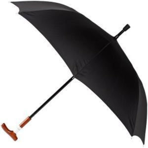 "Leighton - 52"" Manual Open Cane Handle Umbrella - Black"