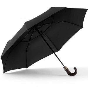 "ShedRain - 46"" Curved Wood Handle Auto Open Close Compact Umbrella"