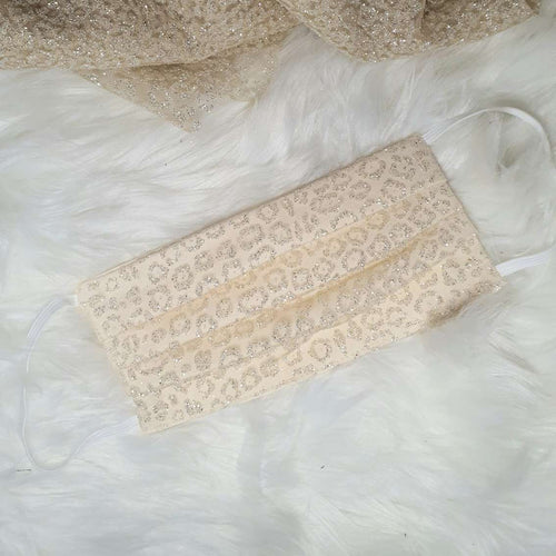 Champagne Ivory Leopard Print Sparkle Glitter Cotton Face Mask - Handmade in England, UK - Unisex