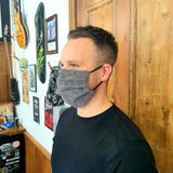 Grey Tailored Cotton Face Mask - Size MEDIUM - Handmade in England, UK - Unisex