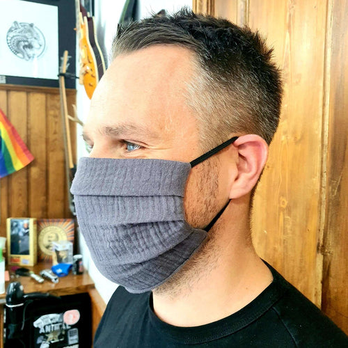 Slate Grey Muslin Cotton Face Mask - Size MEDIUM - Handmade in England, UK - Unisex