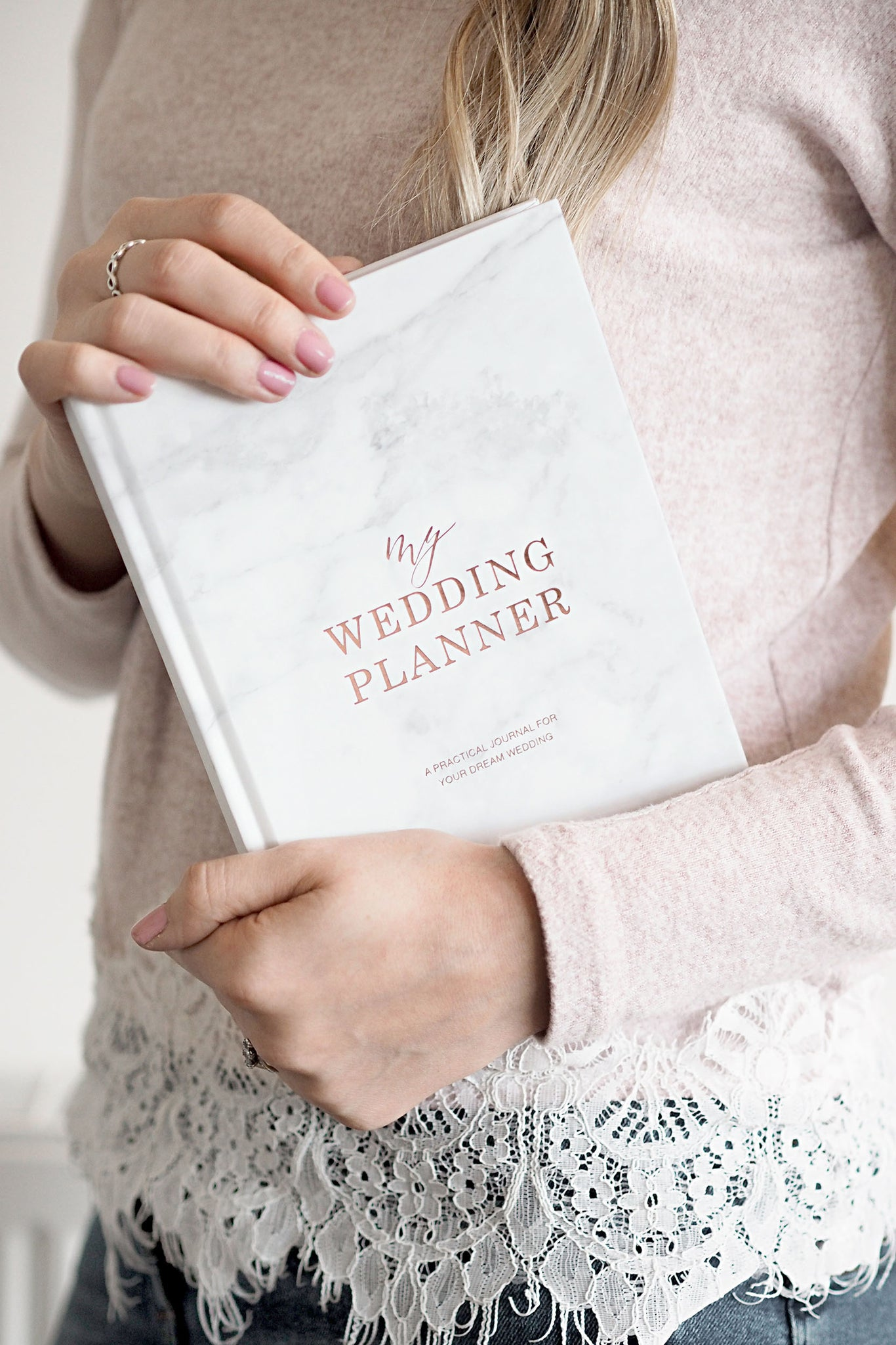 Wedding Planner Book, Marble with Rose Gold Foiling for Brides To Be