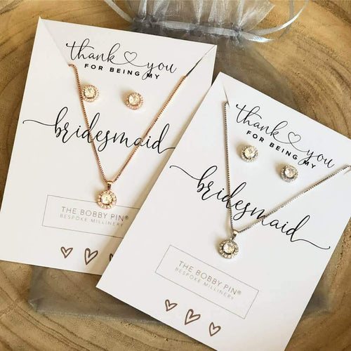 Thank you Bridesmaid Crystal Necklace & Earrings