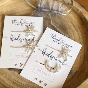 Thank You Bridesmaid Star & Moon Hair Pins