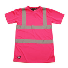 Load image into Gallery viewer, Womens See Me Hi Vis Pink Safety Tee Shirt - Pink - Work Kit Girl