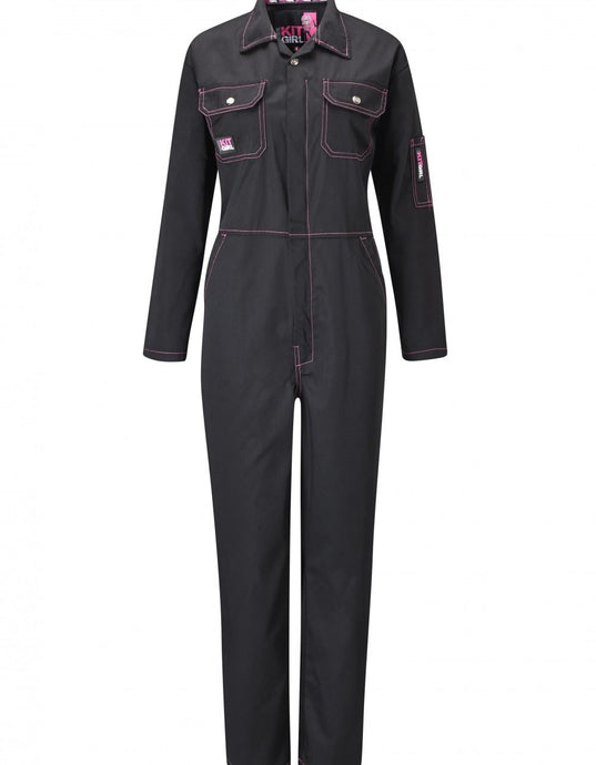 Womens Working Overalls - Black - Work Kit Girl
