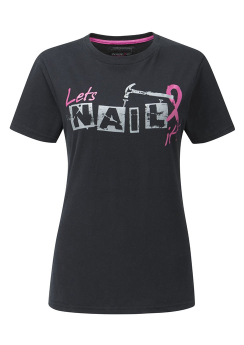 Womens Pink Ribbon Tee Shirt - Black - Work Kit Girl