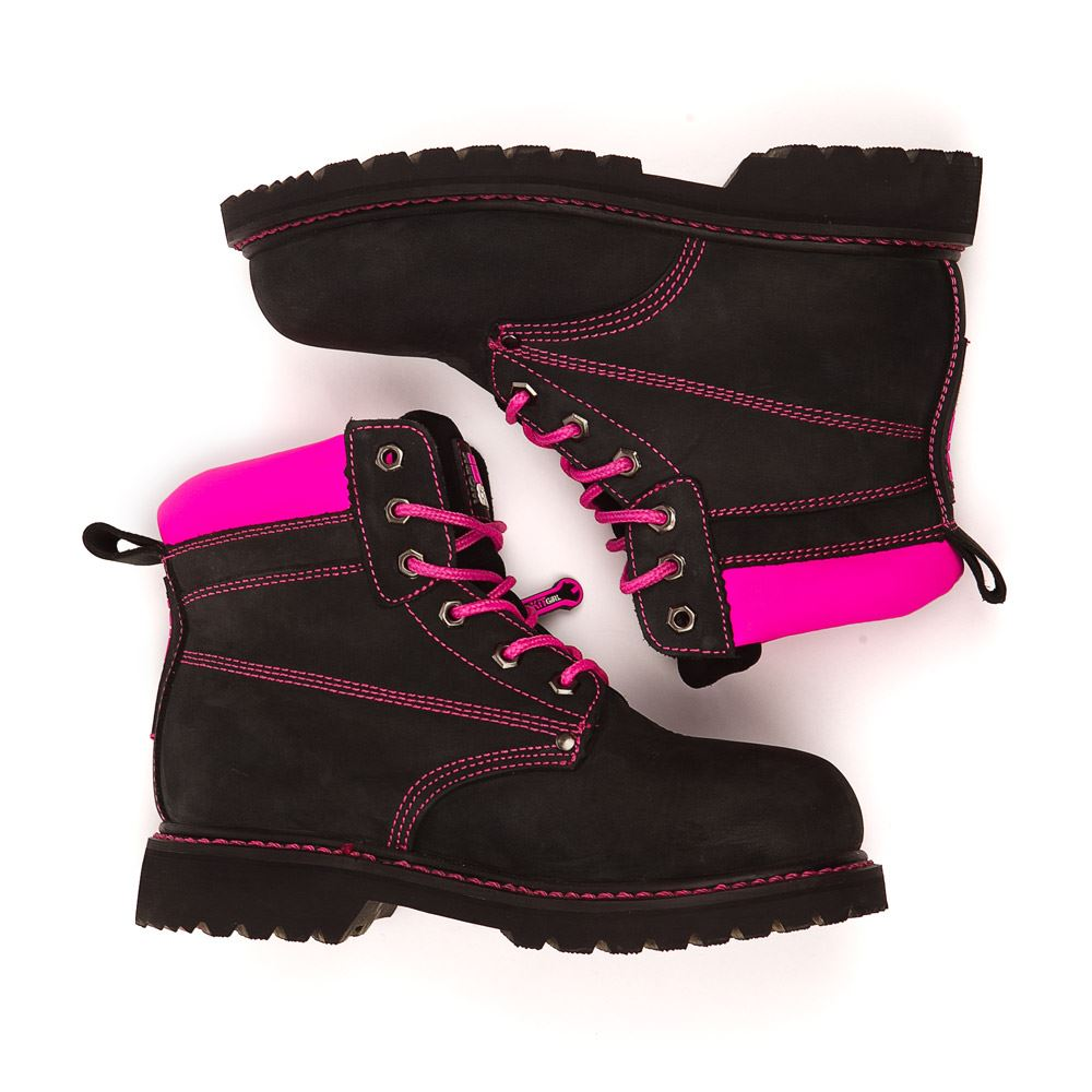 Womens Steel Cap Toe Work Boots Ppe In Black Pink From
