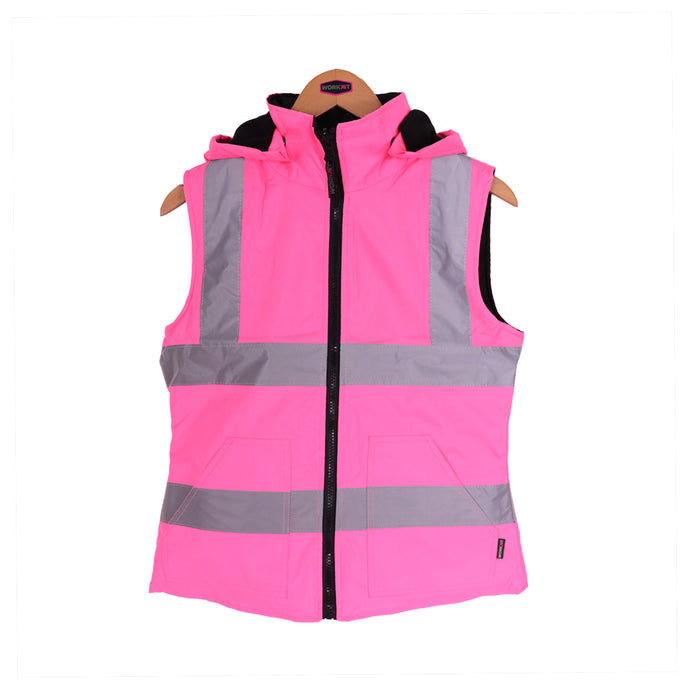 Womens Reversible High Vis Gilet - Black/Pink