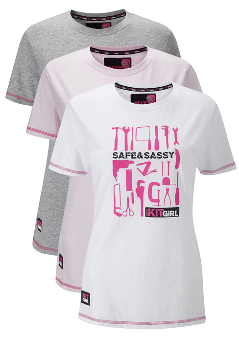 Womens Pack Of 3 Tee Shirts - Work Kit Girl