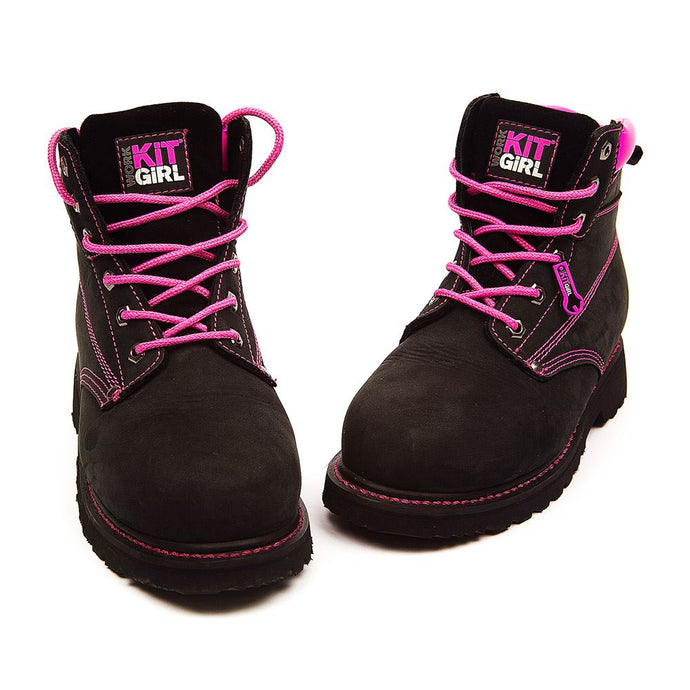 Womens Steel Toe Cap Safety Work Boots - Black/Pink - Work Kit Girl