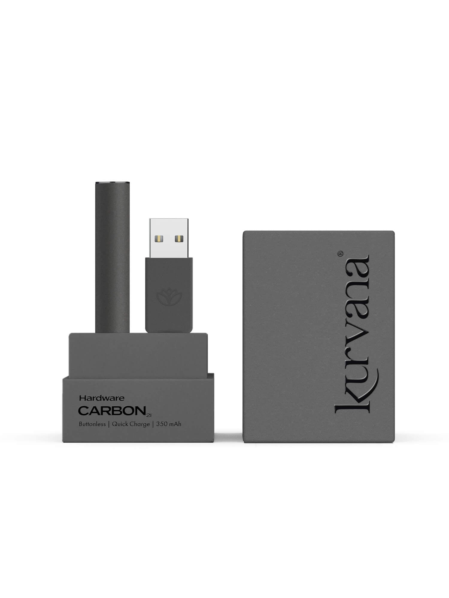 Carbon Black Soft Touch  —  Slim Buttonless Battery - KurvanaCBD